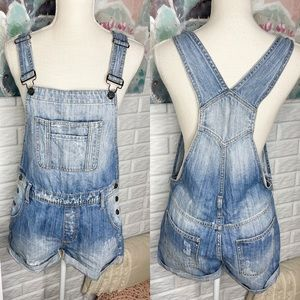 Hidden Jeans Denim Overall Shorts Size Small